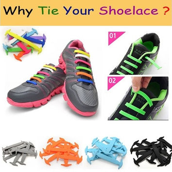 1 Set/16pcs New Novelty No Tie Shoelaces Elastic Silicone Shoe Lace Unisex hf0