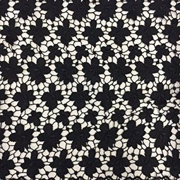 """By The Yard, Flower Venise Lace Trim, For Table Runners, Garments, etc. Black, 16.5"""""""