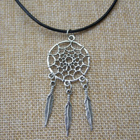 Dreamcatcher Feather Pendant Black Leather Boho Hippy Necklace