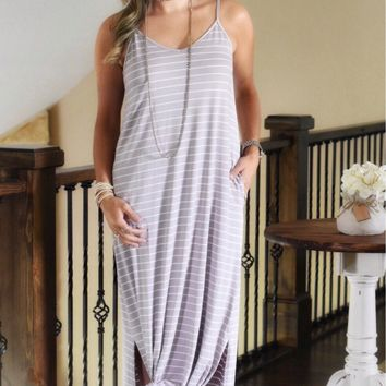 RELAXED STRIPED MAXI DRESS