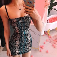 Personality Fashion Snake Print Sleeveless Strap Tight Mini Dress