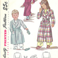 Original 1940s Vintage Simplicity Printed Pattern Childs Robe and Slippers Sewing Pattern Simplicity 2544 Size 3