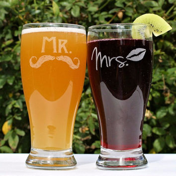 Mr & Mrs Beer Glasses $25+