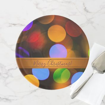 Multicolored Christmas lights. Add text or name. Cake Stand
