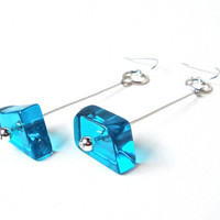 Long modern silver bright blue freeform glass earrings - unique dangle glass earrings - summer accessories by Sparkle City Jewelry