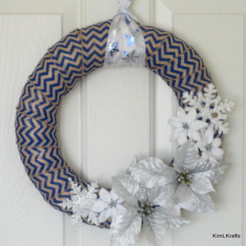 Blue Burlap Wreath, Christmas Wreath, Winter Wreath, Chevron Burlap Wreath, Wreath, Door Decor, Home Decor, Chevron Wreath, Floral Wreath