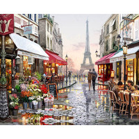 Frameless Paris Street DIY Painting By Numbers Handpainted Canvas Painting Home Wall Art Picture For Living Room Unique Gift