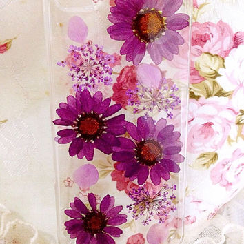 Handmade Real  natural pressed colorful flowers iphone 4s 5 5s 5c 6 6 plus case cover samsung galaxy s5 note 2 note 3 case purple