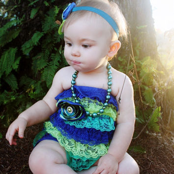 The Peacock Romper & Sash Blue Teal Lime Green by KutieTuties