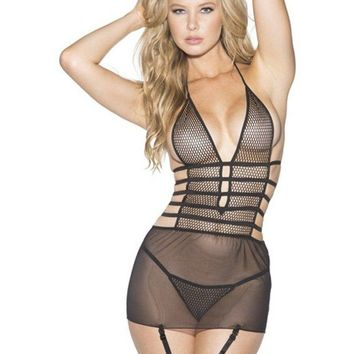 Shirley of Hollywood EL-SOH-SS605 Strappy mesh and net Babydoll with garters
