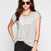 Fox Captivate Womens Open Back Tee Heather Grey  In Sizes
