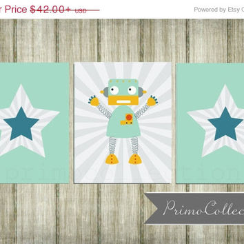 Stars and Robot Nursery Art Prints / set of 3 / 8x10 or 11x14 / teal gray / baby boy nursery art / boy's room decor / wall art