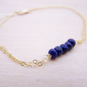 Sapphire Bracelet - Gemstone Bracelet - 14k Gold Filled Bracelet - September Birthstone Bracelet - Gold Dual Chain Bracelet - Gift for Her