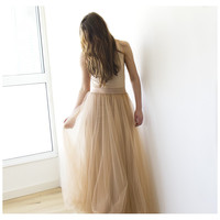 Golden Brown maxi skirt, Fairy maxi tulle ,Wedding Skirt ,Full length, Bride Skirt
