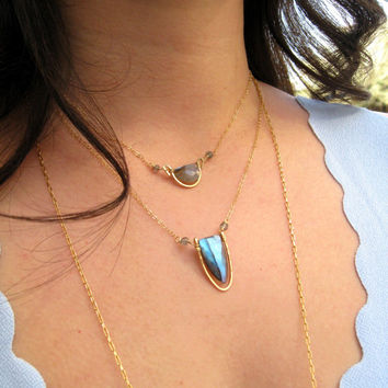 Flash Labradorite Necklace grey and gold Vitrine Designs Rockpool Necklace