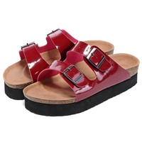 Birkenstock Leather Cork Flats Shoes Women Men Casual Sandals Shoes Soft Footbed Slippers-140