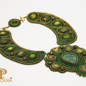 Evergreen | OOAK necklace | Bead embroidery statement necklace with chrysocolla and colored Jaspis cabochons