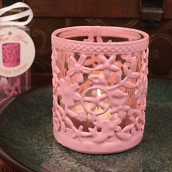 """Glowing Garden"" Pink Steel Candle Holder with Glass Cup and Tea Light Candle"