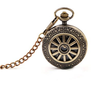 Vintage Hollow Thick/Thin Chain Necklace Analog Pocket Watch