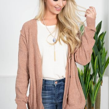 Rosy Brown Button-Up Cardigan