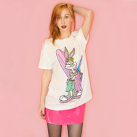 Vintage 90s Bugs Bunny Surf T Shirt Oversized Tee Unisex Looney Tunes M Novelty Beach