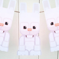 Kids Easter Craft Activity. White Easter Bunny printable paper toy. Instant download. Make you own Easter Bunny cards, banners and bunting!