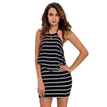 Layered Ruffle Striped Black Halter Mini Dress