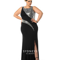 Black & Silver Sequin Plus Size Evening Gown