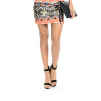 Flashy Jane/Tribal Print Mini Skirt