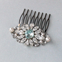 Wedding Hair Comb, Crystal Hair Comb, Pearl Hair Comb, Something Blue, Gatsby Hair Comb, Vintage Style, Bridal Headpiece - CLAIRE