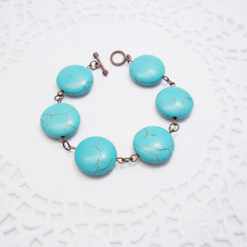 SALE Turquoise bracelet large round turquoise stones bracelet Flat round beads bracelet turquoise with green veins bracelet for mom gift ide