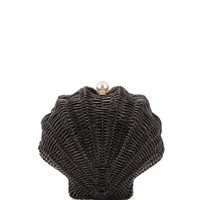 splash out wicker clam shell clutch bag, black - kate spade new york