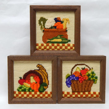 Vintage Cross Stitch Set of Fruits and Vegetables