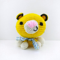 Crochet Teddy Tiger Dolls Handmade Amigurumi Home decor Kids toys Stuffed animal Baby shower Gift ideas Boys Collectible tiger Tiger Gift