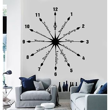 Vinyl Wall Decal Clock Capital City Time Words Home Decor Stickers Mural (g1136)