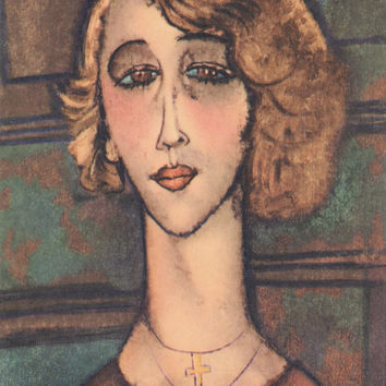 "Vintage French Postcard -- Modigliani ""Renee"" -- 1964, bended"