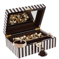 Henri Bendel Striped Medium Wooden Jewelry Box | Henri Bendel