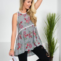 Floral Pinstriped Babydoll Top