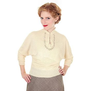 Vintage Ladies Rayon Knit Sweater Embellished Apollo 1940s Small
