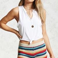 Striped Crochet Knit Shorts