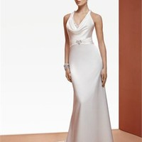 Romantic A-line off-the-shoulder v-neckline court train satin simple Wedding Dresses WDSP0016