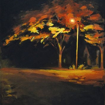 ON SALE Autumn Night Tree Painting Gouache Original 9x12