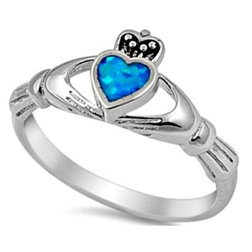 .925 Sterling Silver Blue Opal Claddagh Ring CZ Ladies size 4-10 Heart Crown Solitaire