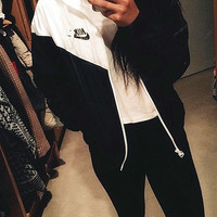 Fashion NIKE Hooded Zipper Cardigan Sweatshirt Jacket Coat Windbreaker Sportswear Contrast (6-color)