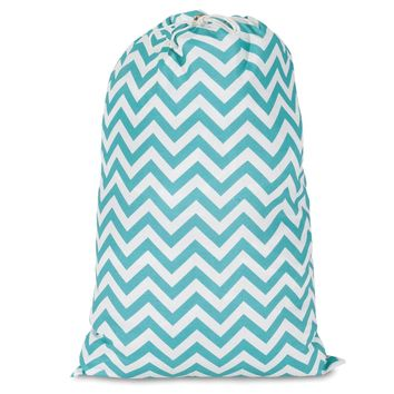 Teal Chevron Laundry Bag