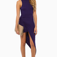 Turtleneck Drape Midi Dress