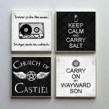 Supernatural SPN Fandom - Ceramic Tile 4-pc. Refrigerator Memo Magnet Set Magnets - Keep Calm Carry Salt and More