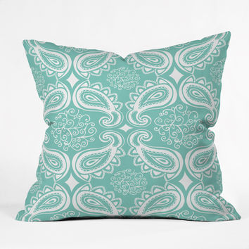Heather Dutton Plush Paisley SeaSpray Throw Pillow