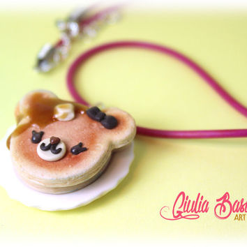 CUTE and unique bear pancake necklace, food miniature  by Giuliart
