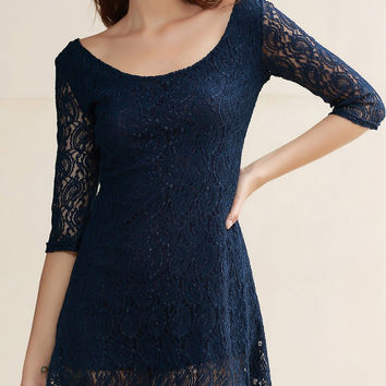 Scoop Collar 3/4 Sleeve Solid Color Lace Dress